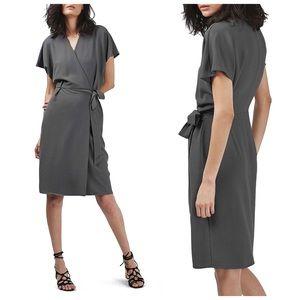 NWT Topshop Grey Crepe Short Sleeve Wrap Dress